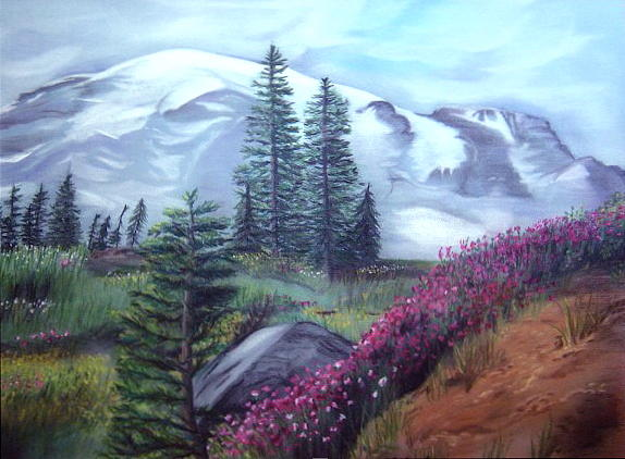 Mt. Rainier Drawing by L Lauter