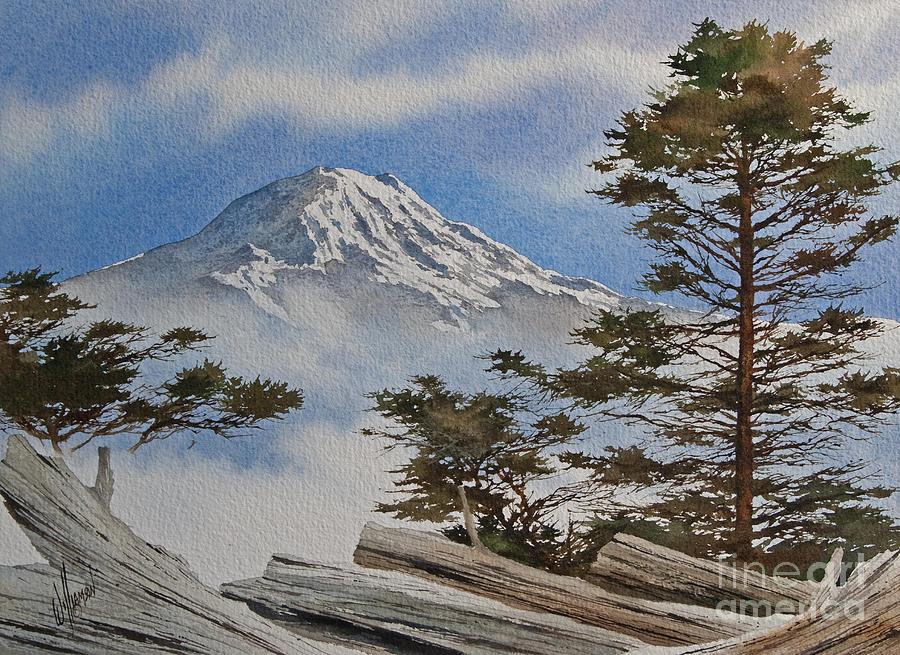 Landscape Fine Art Print Painting - Mt. Rainier Landscape by James Williamson