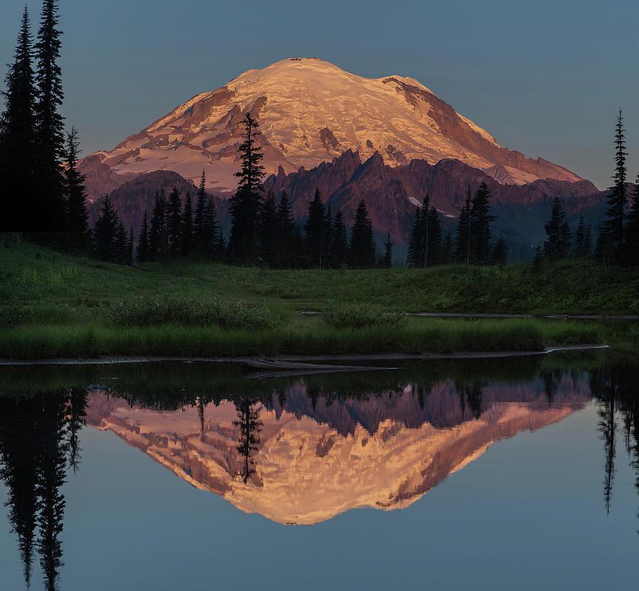 Mt Rainier Photograph - Mt Rainier Mirror Image by Angie Vogel