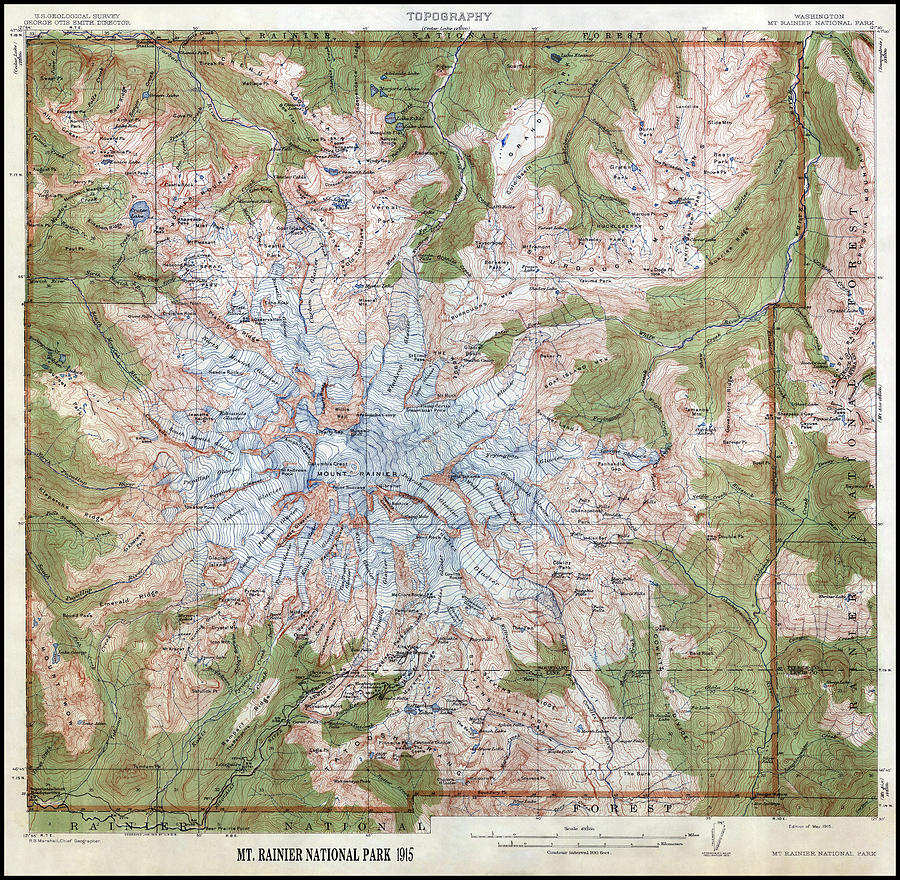 Mt Rainier Topographic Map.Mt Rainier Topographic Map 1915 Photograph By Daniel Hagerman