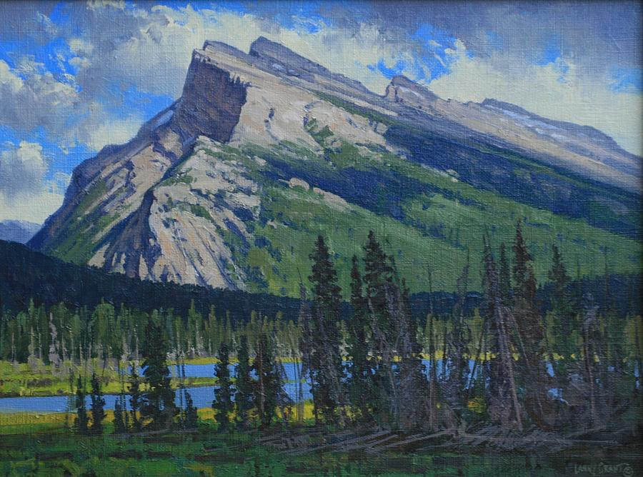 Landscape Painting - Mt. Rundle-canadian Rockies by Lanny Grant