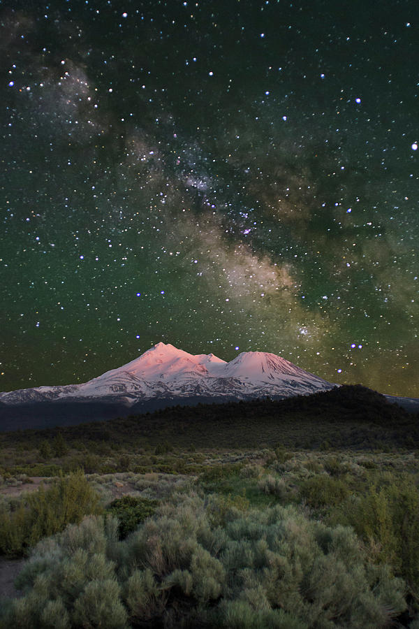 Mt Shasta Photograph - Mt Shasta With Milky Way#2 by Keith Marsh