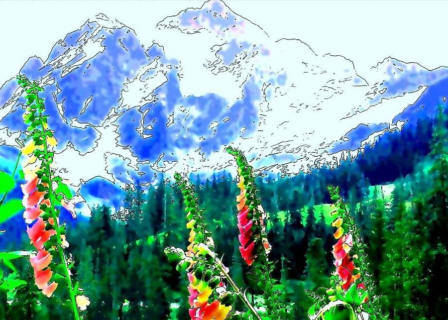 Mt. Shuksan Digital Art - Mt. Shuksan With Foxgloves by Suzanne Charboneau