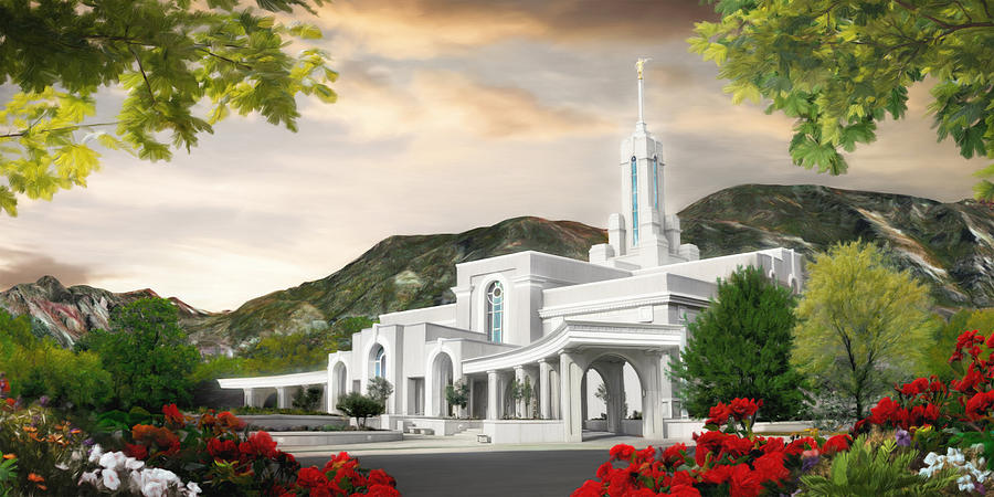 Mount Painting - Mt. Timpanogos Temple #1 by Brent Borup