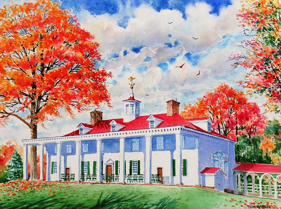 Mount Vernon Painting - Mt. Vernon East Front In Fall by Tom Harris