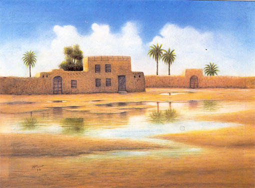 Reflection Painting - Mud House by Hassan Ali