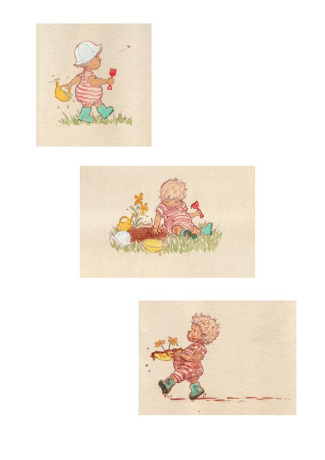 Cute Drawing - Mud Pies by Kathryn Wilson