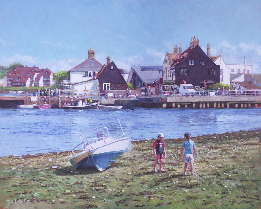 Christchurch Painting - Mudeford Quay Christchurch From Hengistbury Head by Martin Davey