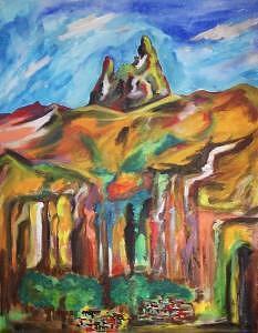 Paisaje Painting - Muela Del Diablo by CarloS Camacho