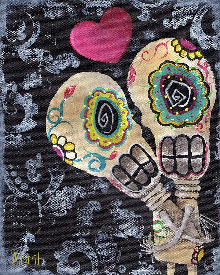 Day Of The Dead Painting - Muertos De Amor by  Abril Andrade Griffith