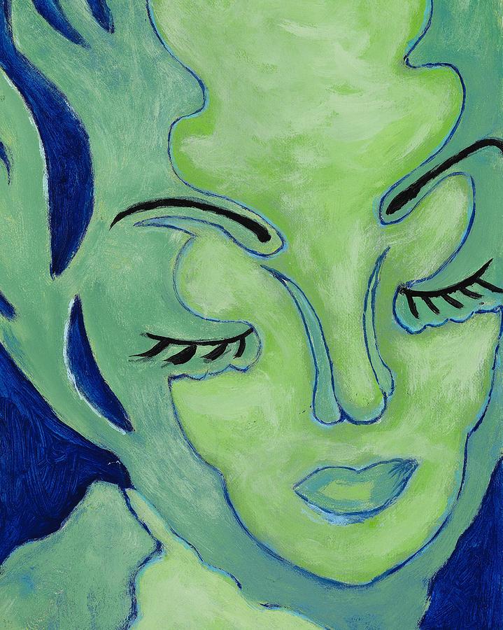 Female Face Painting - Mug Shot Blue by Pegeen  Shean