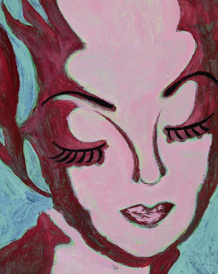Female Face Painting - Mug Shot Mauve  by Pegeen  Shean