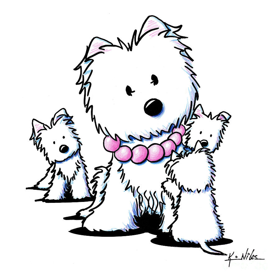 Westie Drawing - Muggles Mom And Siblings by Kim Niles