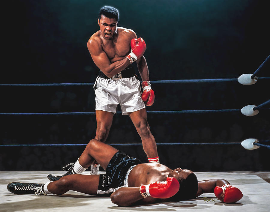 Muhammad Ali Painting - Muhammad Ali Boxer Knocks Out Sonny Liston Cassius Marcellus Clay Boxing Legend by Rich image