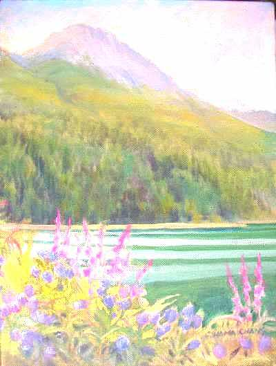River Painting - Muhigan Mtn and the Miette prior to confluence with the Athabasca by Carol Hama Chang