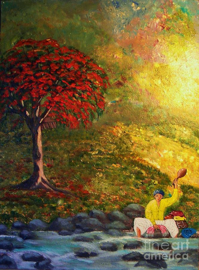 Lavandera Painting - Mujer Lavando En El Rio by Iris  Mora