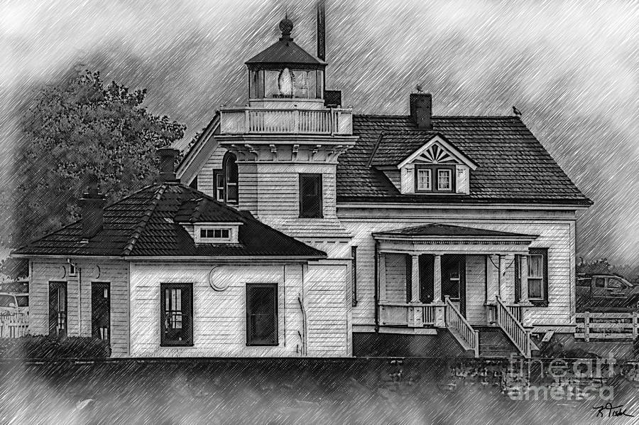Lighthouses Digital Art - Mukilteo Lighthouse Sketched by Kirt Tisdale