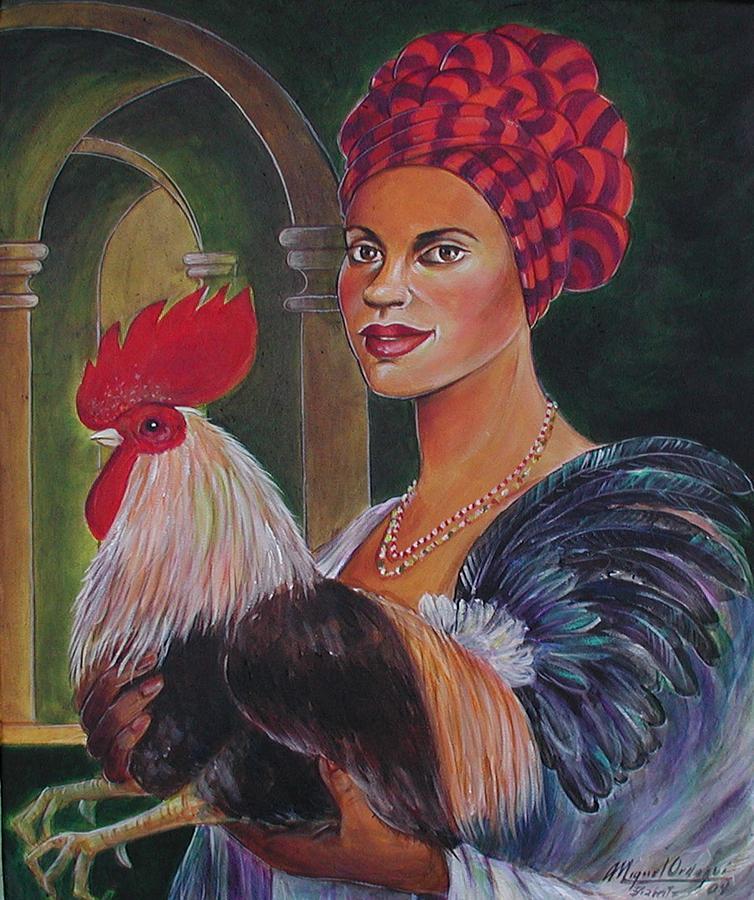 Portrait Painting - Mulata Con Gallo by Miguel Ordoqui