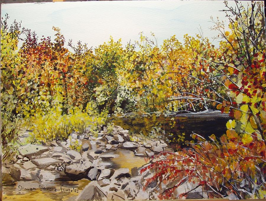 Arkansas Painting - Mulberry River In Fall Another View by Sharon  De Vore