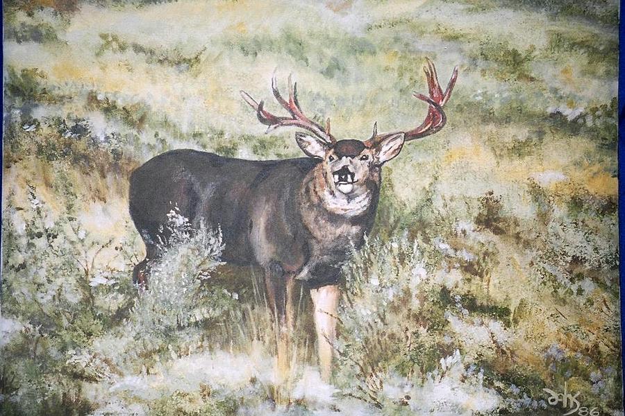 Mule Deer Painting - Muley by Debra Sandstrom