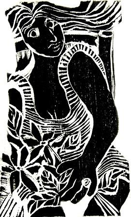 Woodcuts Mixed Media - Mulher Com Anel by Maria Lucia Pacheco