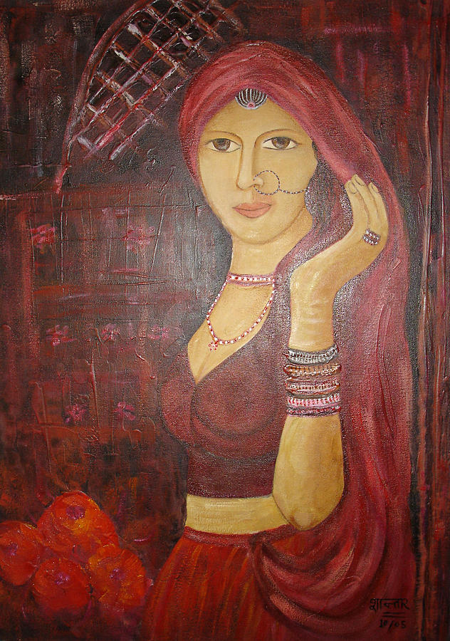 India Painting - Mulher Indiana Na Porta - Indian Woman At The Door by Shanta Rathie
