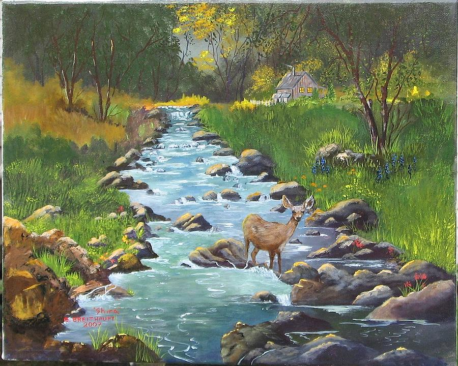Landscape Painting - Mulie Down From Our Cabin by Shira Diana Breithaupt