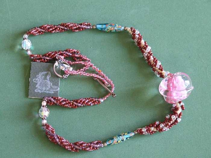 Woven Jewelry - mult weaves with swarovskicrystals and Italian and art glass by Susan Anderson