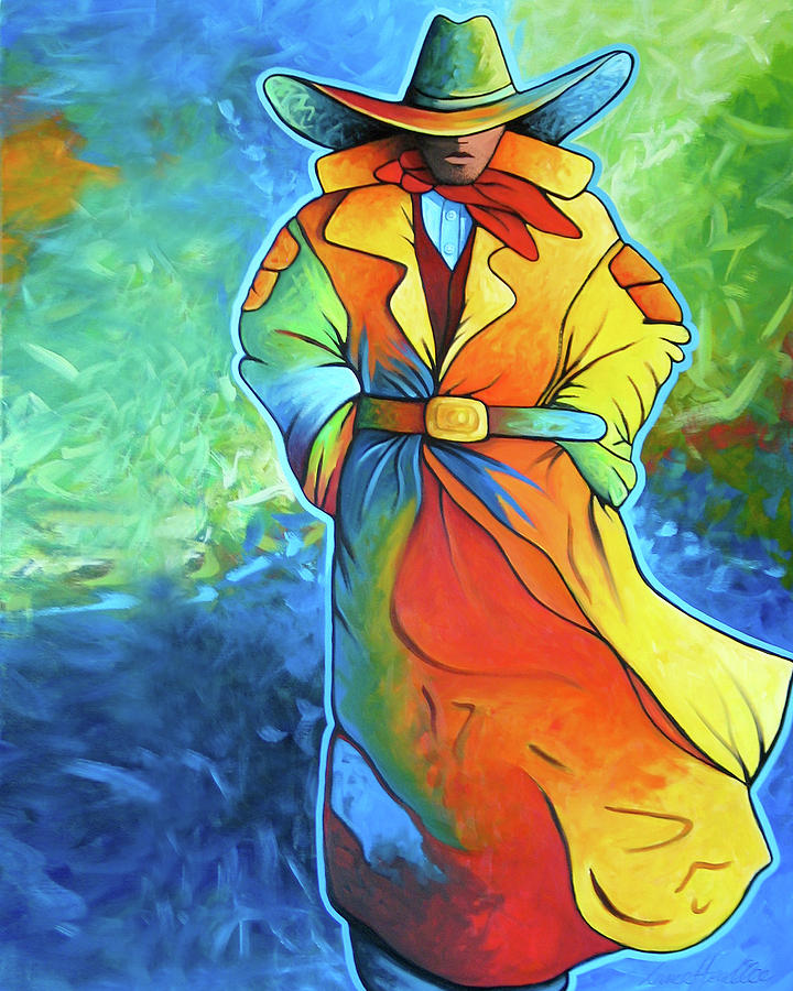 Cowgirl Painting - Multi Color Cowboy by Lance Headlee