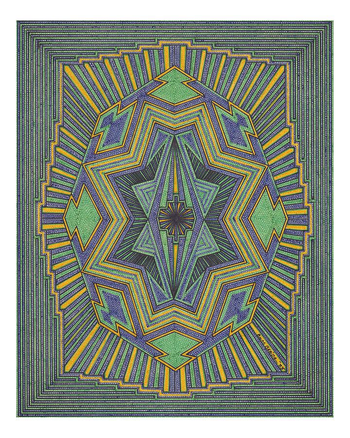 Geometric Design Drawing - Multi Color Design by Amos Beaida