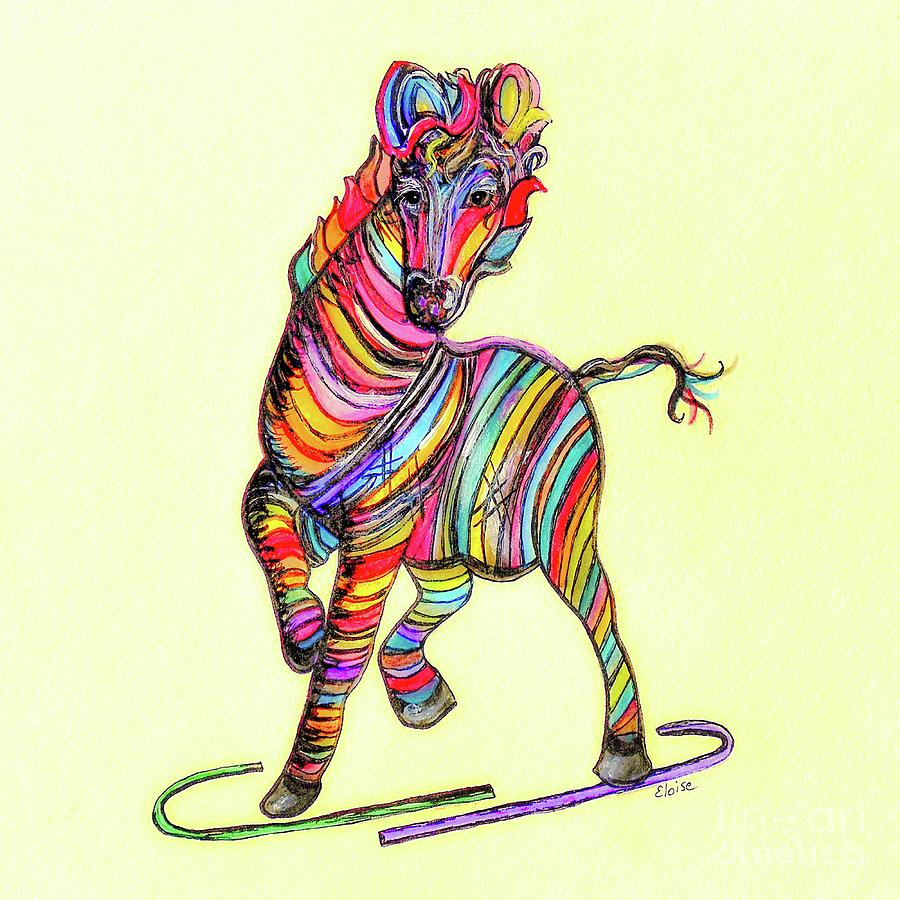 Multi-colored Zebra Painting by Eloise Schneider