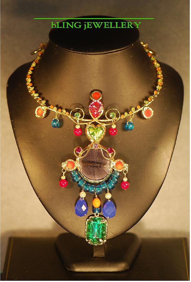 Wre Jewelry - Multi Coloured Tribal Glass And Crystal Necklace by Janine Antulov