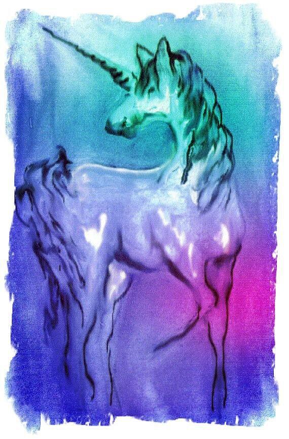 Unicorn Digital Art - Multi Coloured Unicorn by Carol Rowland