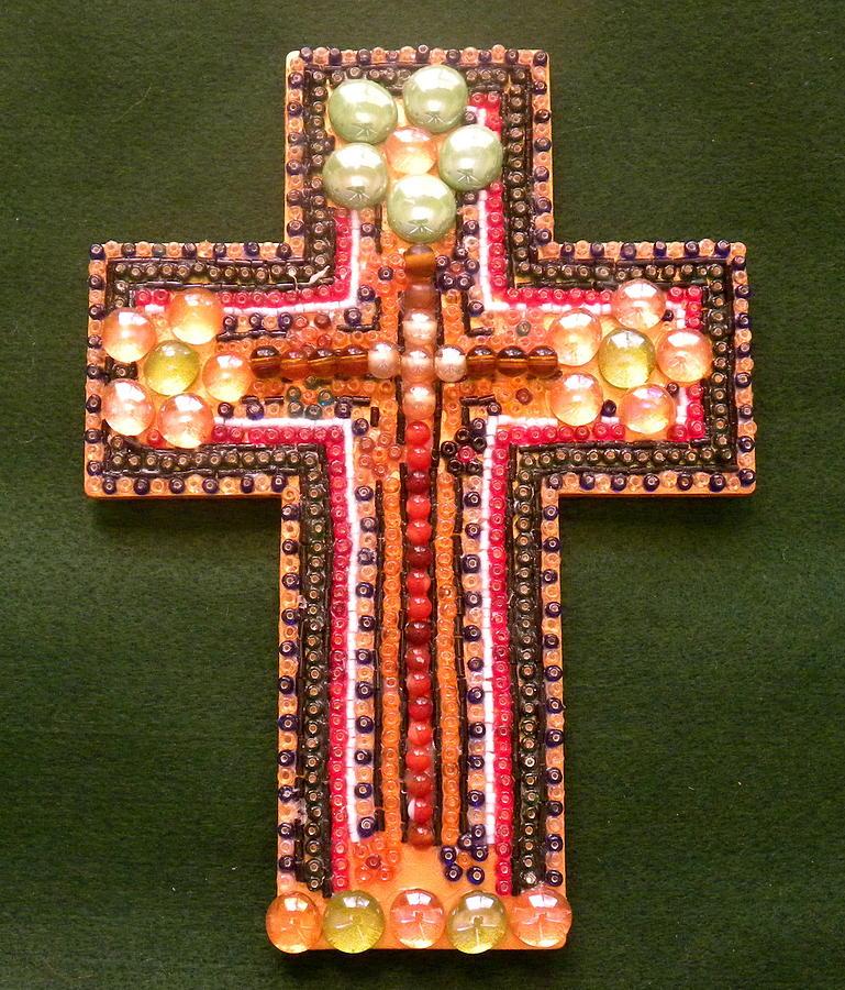 Cross Mixed Media - Multicolor Cross by Arlene Barrios