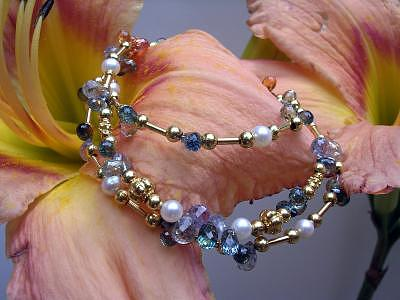 Multicolor Sapphire Briolette Flower Necklace Jewelry by Mia Katrin