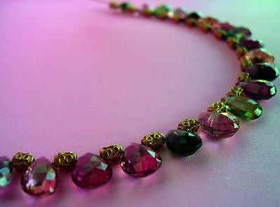 Designer Choker Jewelry - Multicolor Tourmaline Briolette Necklace by Mia Katrin
