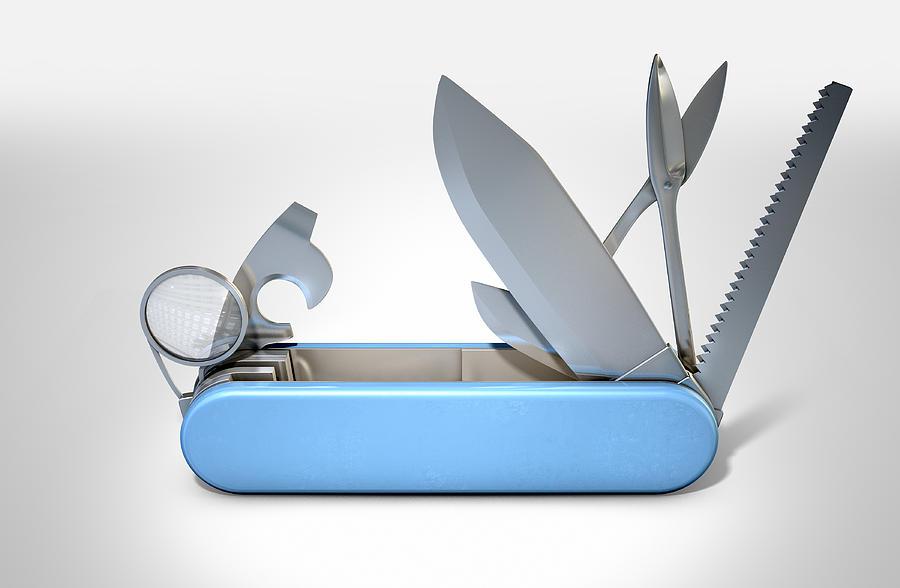 Knife Digital Art - Multipurpose Penknife by Allan Swart