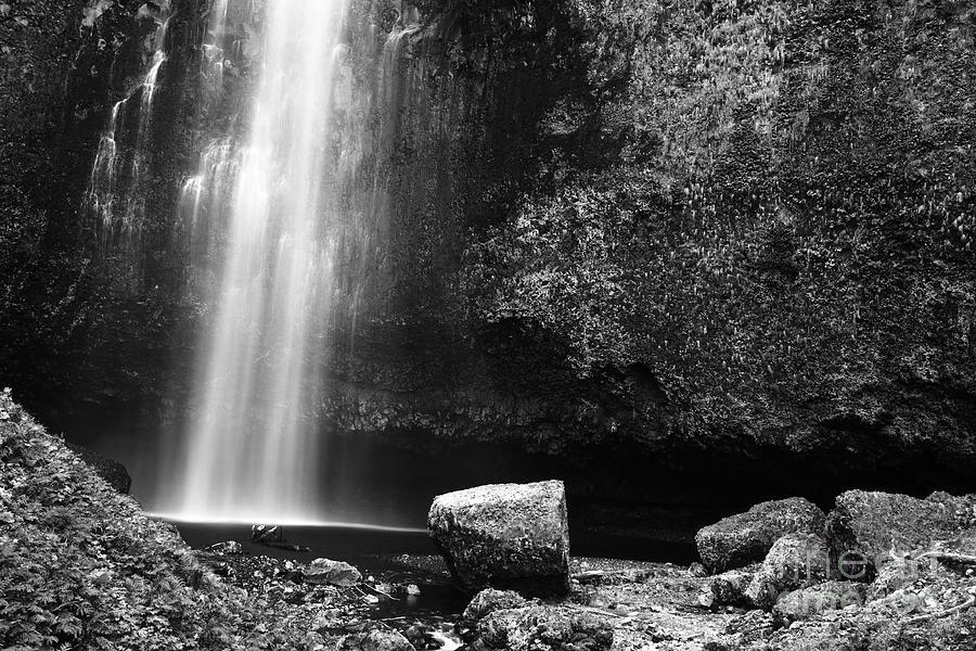 Black Photograph - Multnomah Falls Base by Charmian Vistaunet
