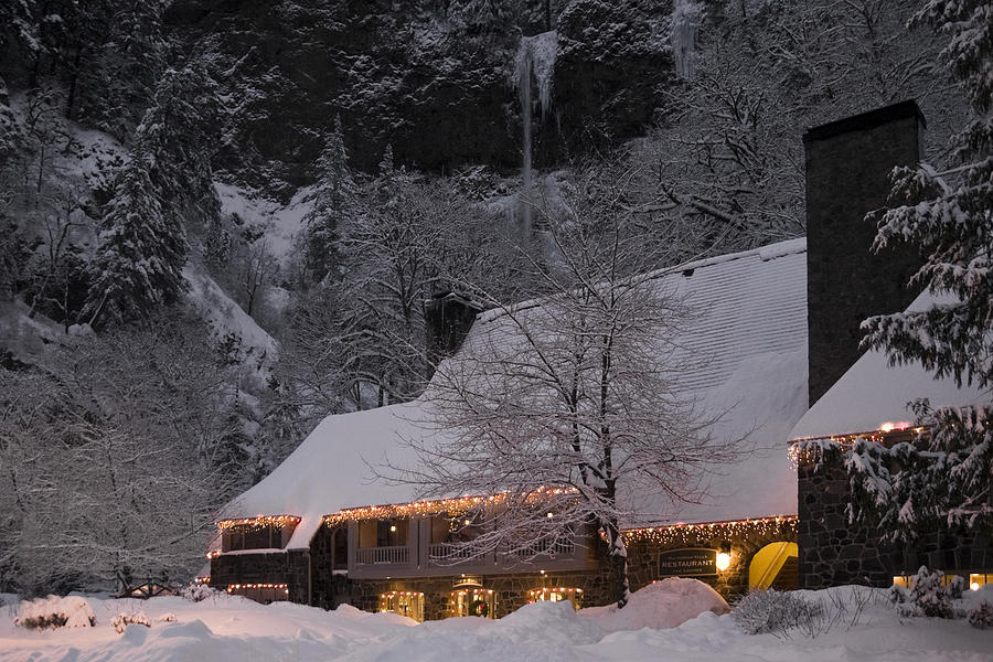 Multnomah Falls Photograph - Multnomah Falls Christmas  by Wes and Dotty Weber