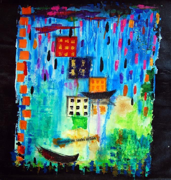 Blue Painting - Mumbai Monsoon by Sumita Acharya