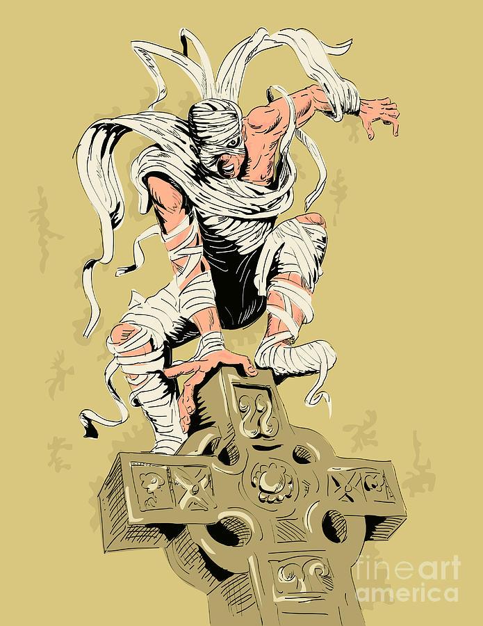 Mummy Digital Art - Mummy On Cross by Aloysius Patrimonio