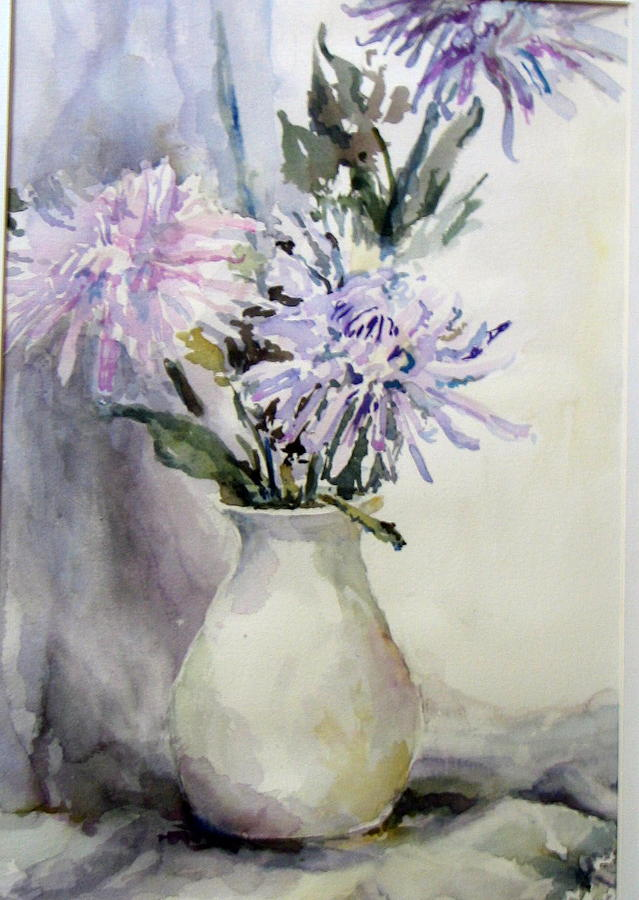 Still Life Painting - Mums In White Pitcher by Dorothy Herron