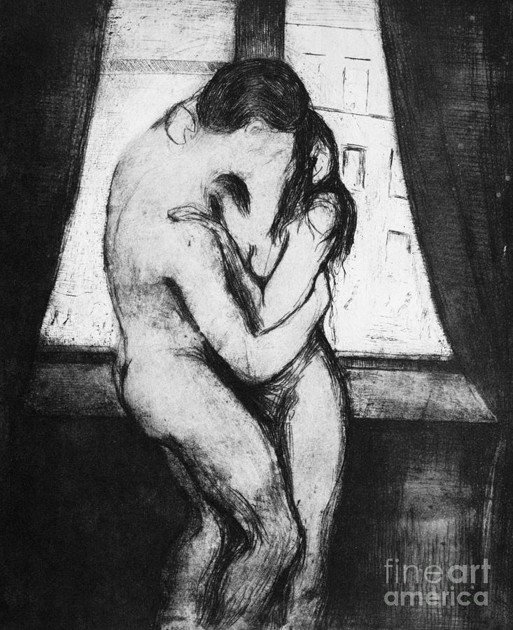 1895 Drawing - The Kiss, 1895 by Edvard Munch