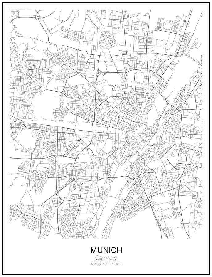 Munich Minimalist Map Digital Art by Lori Hinner