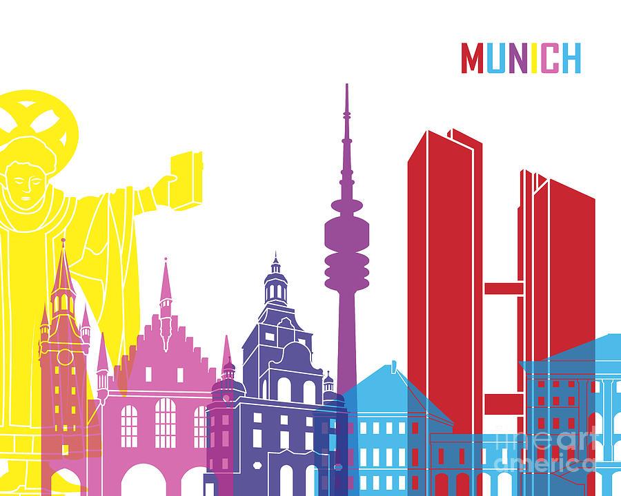 Munich Painting - Munich Skyline Pop by Pablo Romero