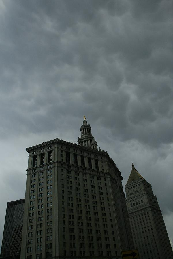 New York Municipal Building Photograph - Municipal Building In Storm by Christopher Kirby