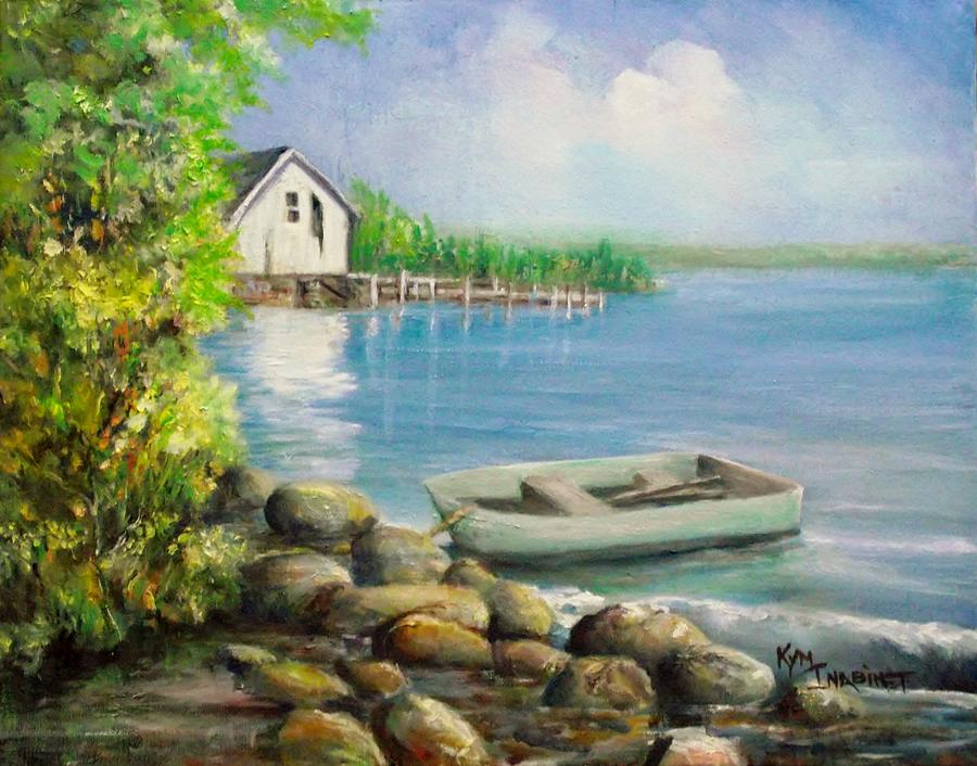 Water Painting - Munising Bay Boathouse by Kym Inabinet