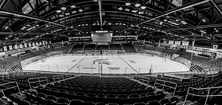 Munn Ice Arena Black And White Photograph