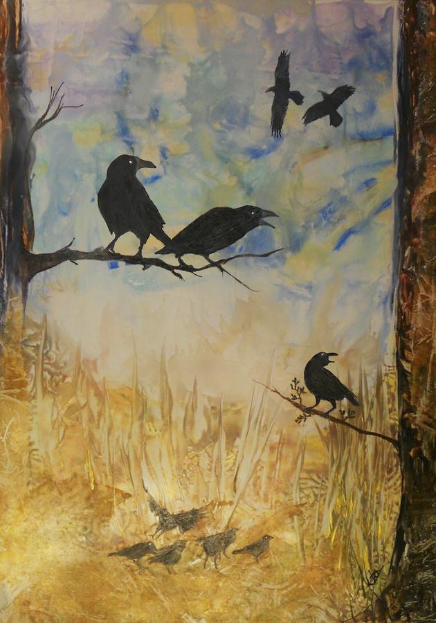 Birds Painting - Murder Of Crows by John Vandebrooke