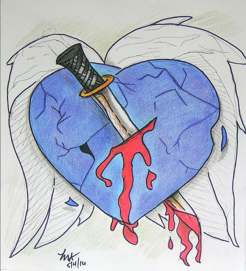Heart Drawing - Murdered Soul by Loretta Nash